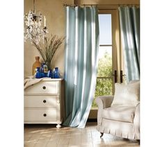 Dupioni Silk Pole Pocket Drape with Blackout Liner. In Parchment? Living Room Drapes, Bedroom Drapes, Master Bedroom, Bedrooms, Dream Bedroom, Silk Curtains, Blue Curtains, Drapery, French Door Curtains
