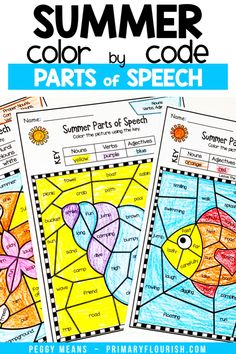 Need some engaging, no prep grammar parts of speech practice for your students? These WINTER themed color by code worksheets are the perfect answer! Your kids can do them independently or in language arts stations. There are 12 different winter color by code pages including: Nouns, Verbs, Pronouns, Adjectives & Adverbs. {first, second, third graders, winter, seasonal} #winter #funinschool #colorbynumber #grammarworksheets Grammar Activities, Teaching Grammar, Grammar Worksheets, Kids Learning Activities, Learning Resources, Fun Learning, Primary Classroom, Elementary Teacher, Elementary Schools