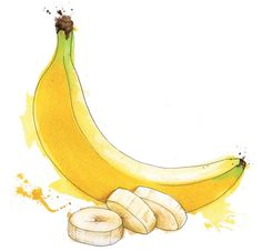 банан, banana, watercolor