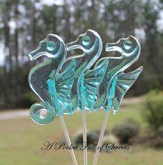 Seahorse Lollipops Beach Wedding Birthday Hard Candy Barley Sugar Lollipops Gifts Seahorses Favors. $13.99, via Etsy.