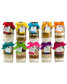 cookie mix mason jars different ribbon for different cookie mix
