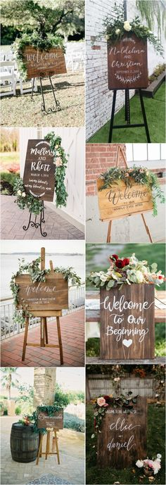 Rustic eucalyptus and peony topped wedding sign #rustic #wedding #weddingsign #green #greenwedding #weddingdecor http://www.deerpearlflowers.com/rustic-greenery-welcome-wedding-signs/