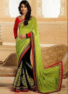 Breathtaking Dual Colored #Faux #Georgette & #Net #Saree