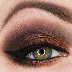 This dramatic smokey eye makeup is a combination of neutral eyeshadows and a pigment. Mix and match textures for more dimension. Get inspiration for your night out with these essentials.