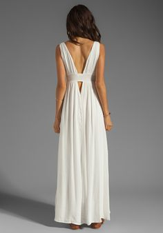INDAH Anjeli Empire Maxi Dress in White -casual small beach wedding