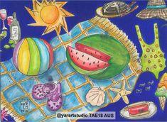 @yarartstudio 'San Diego Summer' postcard  #TAE18AUS International Charity Art Exhibition $48 AUD plus postage International Postage available