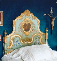 beautiful painted bed by Monique De Tezanos Pinto