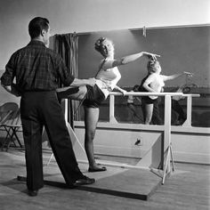 Young Upcoming Starlet Marilyn Monroe Practicing in Dance Class Premium Photographic Print by J. R. Eyerman at Art.com