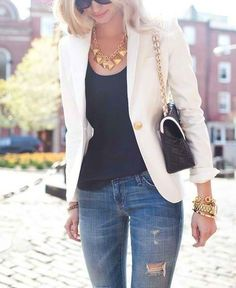 Everything is cute except those grubby distressed/holey jeans 46 Trendy Ideas for Combining Blazer with Jeans