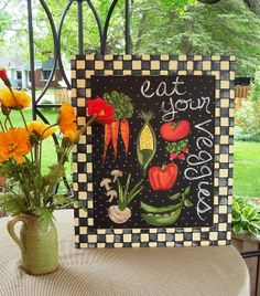 Eat Your Veggies Whimsical Framed Original by WallaceWhimsies, $150.00