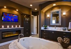 Tv In Bathroom Ideas Beautiful Decorating Ideas Luxury Bathroom Marble with Fireplace and Tv Tv In Bathroom, Bathroom Fireplace, Moroccan Bathroom, Dream Bathrooms, Bathroom Colors, Beautiful Bathrooms, Bathroom Interior, Master Bathrooms, Bathroom Ideas