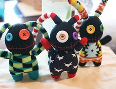Handmade stuffed Black Monster doll with Stars & by DoktoryStudio