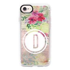 Faded Watercolor Floral on Wood Initial D - iPhone 7 Case And Cover ($40) ❤ liked on Polyvore featuring accessories, tech accessories, iphone case, wood iphone case, clear floral iphone case, iphone cases, apple iphone case and clear iphone case