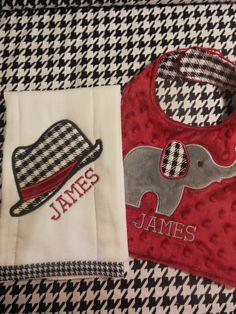 Alabama Houndstooth Bib and Burp cloth set by TWINSANDQUINN on Etsy https://www.etsy.com/listing/127810103/alabama-houndstooth-bib-and-burp-cloth