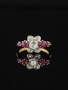 Roses A vision of sophistication and boldness from past decades shows off with style and drama. Separated form the crowd with its easthetically chic design. Ruby Rings, Antique Rings, Stone Rings, Crowd, Heart Ring, Drama, Roses, Velvet, Chic