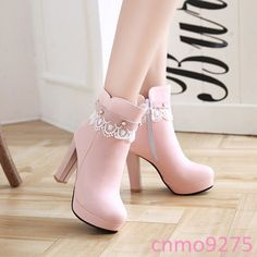Women's Sweet Boots Lace Beads Platform Shoes Source by fashion boots Lace Ankle Boots, Shoe Boots, Shoes Heels, Cute Shoes Boots, Pink Boots, Women's Boots, Pumps, Kawaii Shoes, Prom Heels