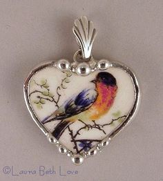 Dishfunctional Designs: Birds On Vintage China Patterns (broken china jewelry by Laura Beth Love) - I just love her work!
