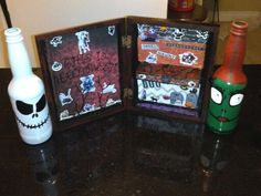 Nightmare before Christmas cigar shadow box and bottles