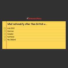 Poll: Which nationality besides British would you accept as the Doctor? limited selection mainly ''anglosphere'' countries