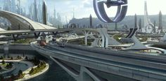 Production still from Disney's Tomorrowland, directed by Brad Bird