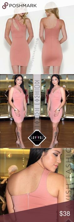 NWT 💎 Mauve One Shoulder Mini NEW🚨One Shoulder // Pink // Dress// One shoulder with decorative cut in the middle. Body hugging material makes this dress fit like a glove. Zipper is located at the back fabric is thick and stretchy. NEW With Tags from our boutique. Dresses One Shoulder