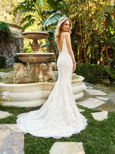 Moonlight Couture H1360 unique wedding dress with comfortable stretch lining and alluring low V-back scoop back #lowback #sexyback #weddingdress #bride #weddinggown