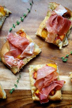 This roasted peach  prosciutto focaccia looks like a great appetizer for summer parties