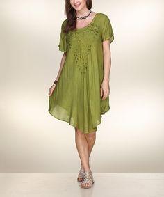 Love this Green Asymmetrical Dress on #zulily! #zulilyfinds