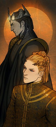 Morgoth and Sauron by Gerwell. (Morgoth being the guy who started all the bad stuff back when Middle Earth was being created. He also brought about dragons and balrogs and such. Sauron was Morgoth's second in command, and took control of Morgoth's forces after Morgoth was banished to the Void.)
