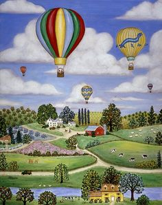 Ballooning In The Country One by Linda Mears ~ hot air balloons ~ farm land