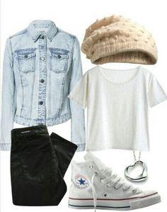Denim,t-shirt,beanie and converse. Perfect!