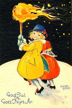 Vintage Scandinavian Christmas Card by Adina Sand ~ Orange Flames