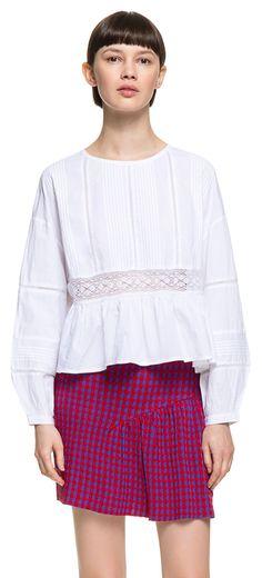 CAMISETAS Camiseta encaje blanca BLANCO