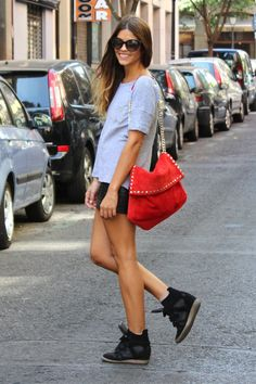 """Dress casual """"up"""" with cute hightops and a bright red purse.   Effortlessly Trendy.   Photo bucket"""