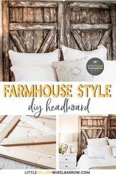 How to build a barn door headboard. A simple & inexpensive DIY weekend project to bring some rustic farmhouse charm to your bedroom. DIY home decor ideas. Wood projects.