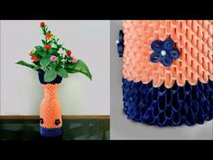 Handmade Paper Flower Vase || 3d Origami Flower Vase DIY || How to make flower vase using Paper - YouTube