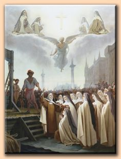 """rectumetjustum: """"  The Carmelite Martyrs of Compeigne On July 17 the sixteen sisters were brought before Fouquier-Tinville. All cases were now being disposed of within twenty-four hours as Robespierre had wished; theirs was no exception. They were..."""