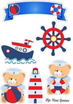 Topo de bolo ursinho marinheiro para editar e imprimir - Mimo Kids Scrapbook Bebe, Diy And Crafts, Paper Crafts, Nautical Party, Baby Decor, Baby Boy Shower, Decoration, Birthday, Cards