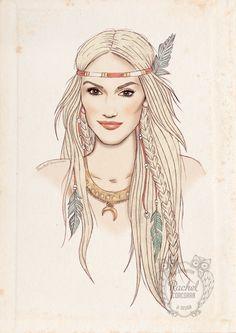 GWEN STEFANI Portrait Poster - Native American - Fashion Illustration - Feather Headdress - Pencil and Digital Print - Red - Pale - Beige. €20.00, via Etsy.
