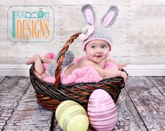 Bunny Rabbit Hat and Diaper Cover with Pom Pom, Baby Photo Prop for Newborns to 24 months