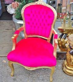 Louis Fuschia & Gold - A Hot Pink & Gold Antiqued Armchair