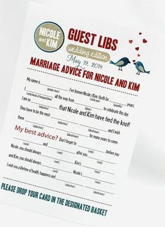 Wedding Mad Libs PDF File Print Yourself Love Birds Colors Are Customizable…