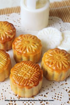 Cantonese Style Baked Mooncake- I have no idea what these taste like but they are so pretty!
