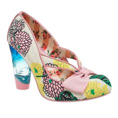 Hello Ha! This bright style features a blue-tinted lucite heel, and a pink toe-box bow. The unique cut-out upper with a flower print makes this heel perfect for sunny days!