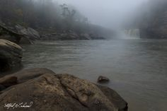 https://flic.kr/p/q1PrNY | Cumberland Falls - Early Morning | Just before sunrise at Cumberland Falls with some early morning fog which still hasn't burned off.  View from the shoreline across from the falls.  Cumberland Falls, Kentucky, USA, October 2014