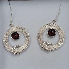 Garnet Silver Earrings Sterling Silver Dangle by TalyaDesign