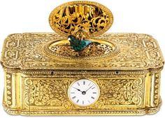 An exceptional and extraordinarily rare silver gilt and enamel singing bird box with watch, Patek Philippe; sold 2,240,000 HKD; 29/11/16.