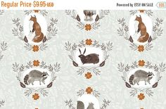 SALE 10% Off - Beyond the Brush in Mint  519 - FOXTAIL FOREST  by Rae Ritchie - Dear Stella Design Fabric - By the Yard