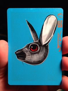 Rabbit Illustration portrait on a playing cards. Original acrylic paintings. 2013 on Etsy, $12.00