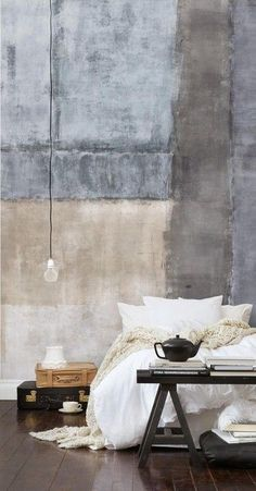 painted concrete wall in the bedroom